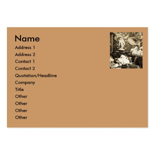 B&W Vintage -Her Guardian Angel- Stereoview Business Card