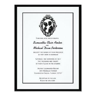 B&W Vintage Ornate Silhouetted Bride & Groom Card