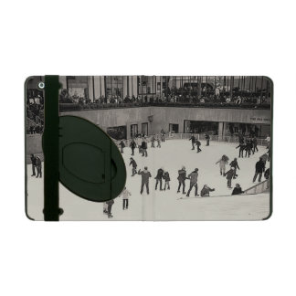B &W Vintage Skating @ the Rink iPad Case w/Stand