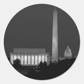 B&W Washington DC 3 Classic Round Sticker