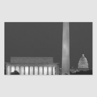 B&W Washington DC 3 Rectangular Sticker