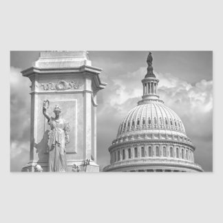 B&W Washington DC Rectangular Sticker