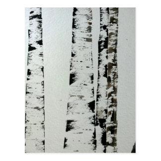 B&W Watercolor Trees Postcard