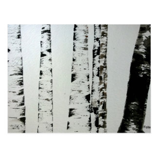 B&W Watercolor Trees Post Card