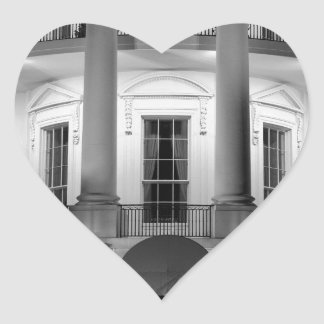 B&W White House 2 Heart Sticker
