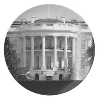 B&W White House Plate