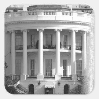 B&W White House Square Sticker