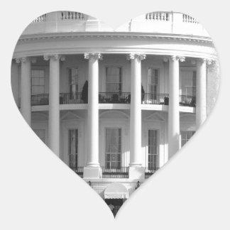 B&W White House Heart Sticker