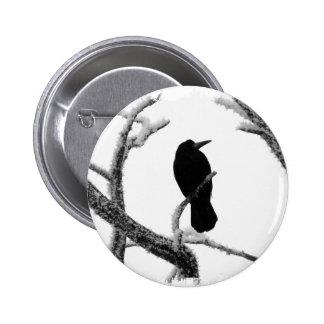 B&W Winter Raven Edgar Allan Poe Pinback Buttons
