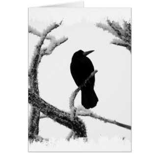 B&W Winter Raven Edgar Allan Poe Card