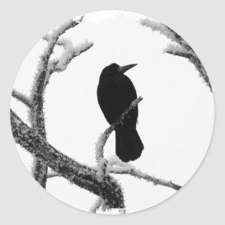 B&W Winter Raven Edgar Allan Poe Classic Round Sticker