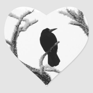 B&W Winter Raven Edgar Allan Poe Heart Sticker