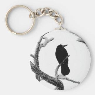 B&W Winter Raven Edgar Allan Poe Basic Round Button Keychain