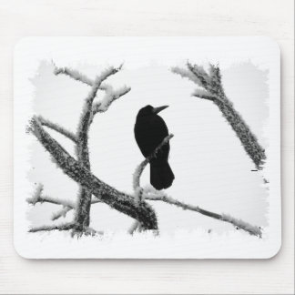 B&W Winter Raven Edgar Allan Poe Mouse Pad
