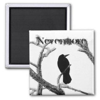 B&W Winter Raven Edgar Allan Poe Nevermore 2 Inch Square Magnet