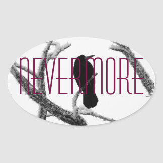 B&W Winter Raven Edgar Allan Poe - Nevermore Oval Sticker