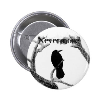 B&W Winter Raven Edgar Allan Poe Nevermore Pinback Button