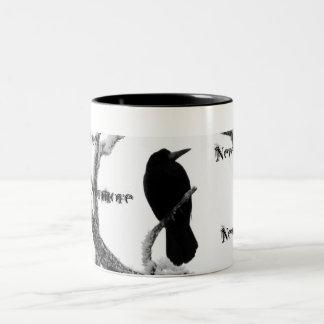 B&W Winter Raven Edgar Allan Poe Nevermore Two-Tone Coffee Mug