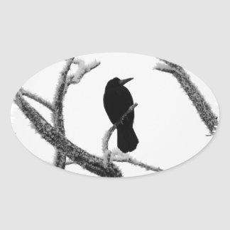 B&W Winter Raven Edgar Allan Poe Oval Sticker