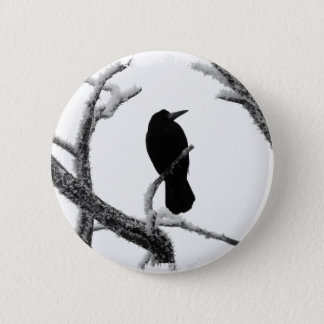B&W Winter Raven Edgar Allan Poe Pinback Button