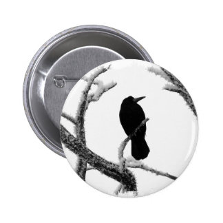 B&W Winter Raven Edgar Allan Poe Pinback Button