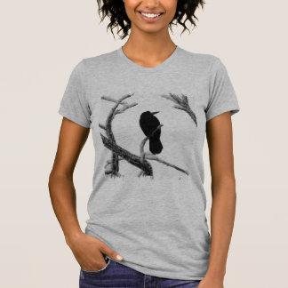 B&W Winter Raven Edgar Allan Poe Tee Shirt