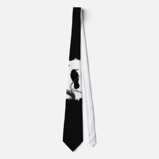 B&W Winter Raven Edgar Allan Poe Tie