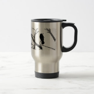 B&W Winter Raven Edgar Allan Poe Travel Mug