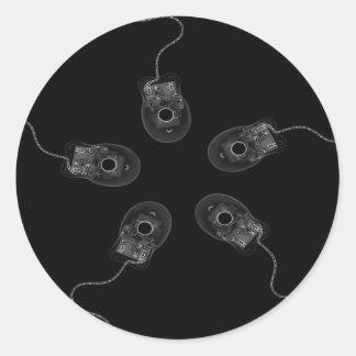 B&W X-Ray Computer Mice Classic Round Sticker