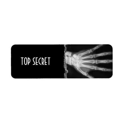 B&W X-ray Skeleton Hand TOP SECRET Labels