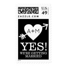 b/w YES heart with arrow modern wedding Postage