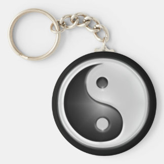 B&W Yin&Yang Llavero Redondo Tipo Pin