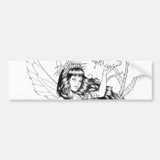 B&W Young Fairy with Flowers by Al Rio Car Bumper Sticker