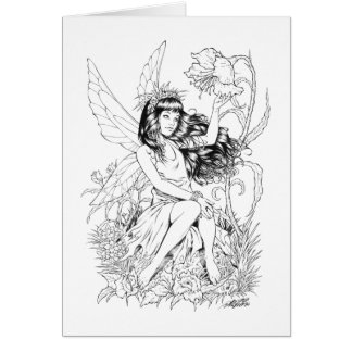 B&W Young Fairy with Flowers by Al Rio Card