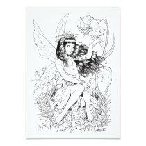 fairy, fairies, fae, young, girl, flowers, nature, nymph, sprite, al rio, fantasy, illustration, Invitation with custom graphic design