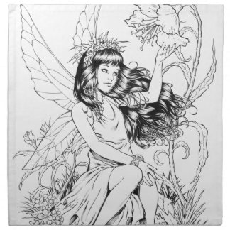 B&W Young Fairy with Flowers by Al Rio Cloth Napkin