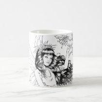 fairy, fairies, fae, young, girl, flowers, nature, nymph, sprite, al rio, fantasy, illustration, Mug with custom graphic design