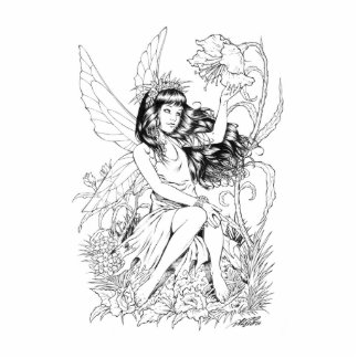 B&W Young Fairy with Flowers by Al Rio Cutout