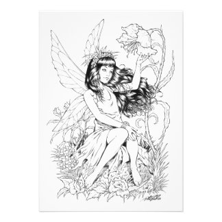 B W Young Fairy with Flowers by Al Rio Personalized Announcements