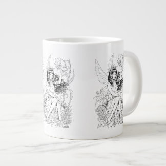 B&W Young Fairy with Flowers by Al Rio Large Coffee Mug