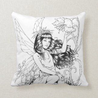 B&W Young Fairy with Flowers by Al Rio Throw Pillow