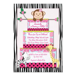 B&W Zebra Jungle Cake Baby Shower Invitation