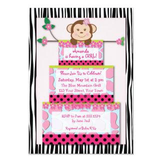 B&W Zebra Monkey Cake Baby Shower Invitation