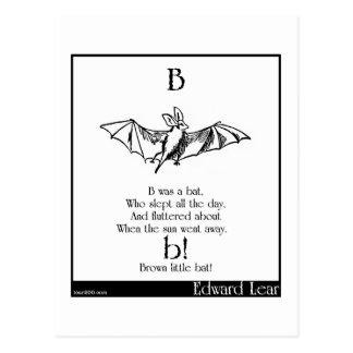 B was a bat postcard