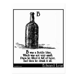 B was a Bottle blue Postcard