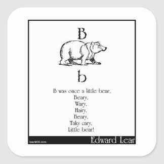 B was once a little bear square sticker