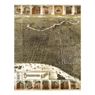 B y mapa de M Birdseye de Philadelphia (1885) Membrete Personalizado
