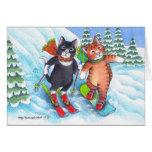 B y navidad Notecard del esquí/de la snowboard de