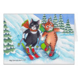 B y navidad Notecard del esquí/de la snowboard de Tarjeta Pequeña