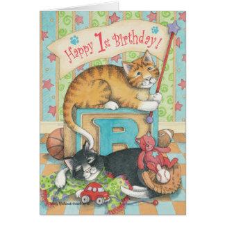 B y nota del cumpleaños del muchacho de T #54B 1ra Tarjeta Pequeña